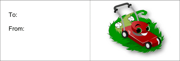 Mow The Lawn (white background) Printable Gift Card